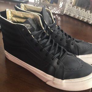 Vans Sk8-Hi Slim Black and Gold Leather EUC